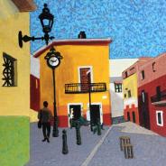 Mexico Scene with Clock