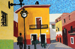 Mexico Scene with Clock